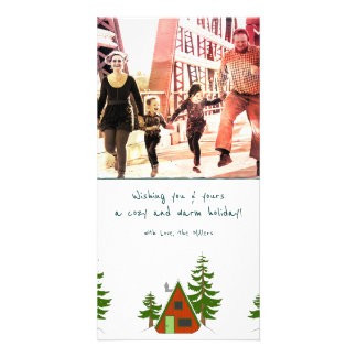 The Winter: Holiday Cabin Illustration Photocard Card