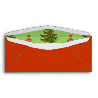 The Winter: Oh, Christmas Tree Lined Red #10 Envelope