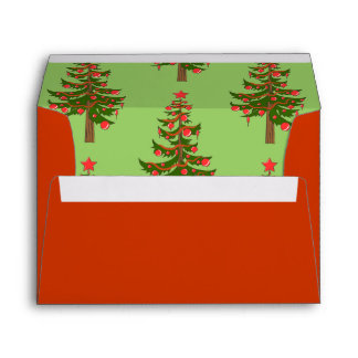 The Winter: Oh, Christmas Tree Pattern in Red A7 Envelope