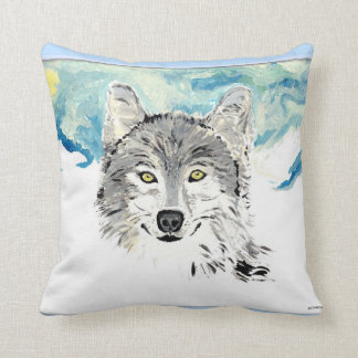 The Winter wolf throw pillow
