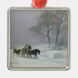 The wintry road to market metal ornament