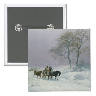 The wintry road to market pinback button