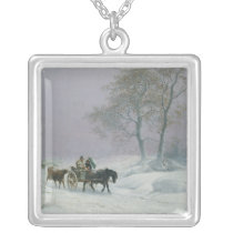The wintry road to market silver plated necklace