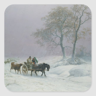The wintry road to market square sticker