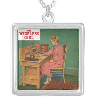 The Wireless Girl Square Pendant Necklace
