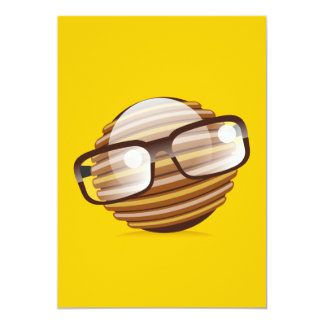 The Wise Guy - The Geek Smiley With Glasses 5x7 Paper Invitation Card