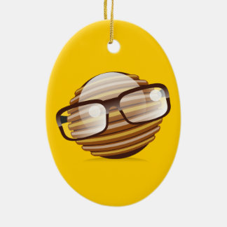 The Wise Guy - The Geek Smiley With Glasses Ceramic Ornament