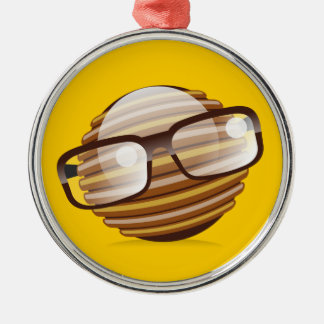 The Wise Guy - The Geek Smiley With Glasses Metal Ornament
