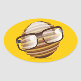 The Wise Guy - The Geek Smiley With Glasses Oval Sticker