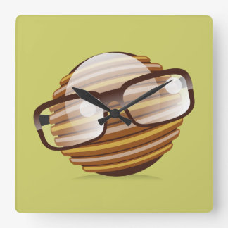 The Wise Guy - The Geek Smiley With Glasses Square Wall Clock