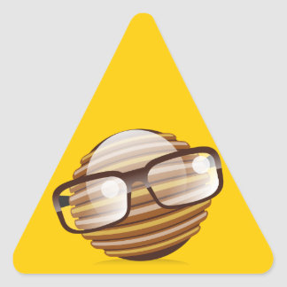 The Wise Guy - The Geek Smiley With Glasses Triangle Sticker