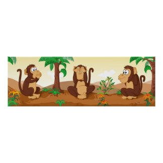 The wise monkeys - panorama poster