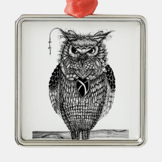 The wise owl metal ornament