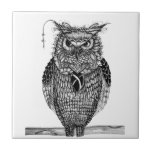 The wise owl small square tile
