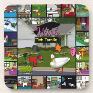The Wish Fish Family Collage Drink Coaster