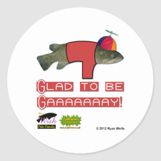 The Wish Fish Family - Junior - Glad to be Gay Classic Round Sticker