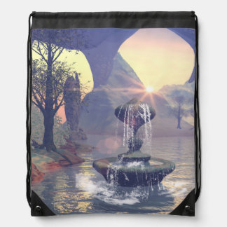 The wishing fountain drawstring backpack