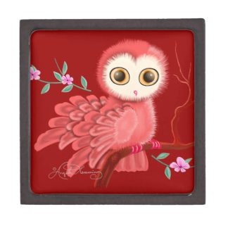 The Wistful Owl Red Background Premium Keepsake Boxes