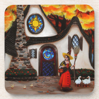 The Witch and her Geese Beverage Coaster