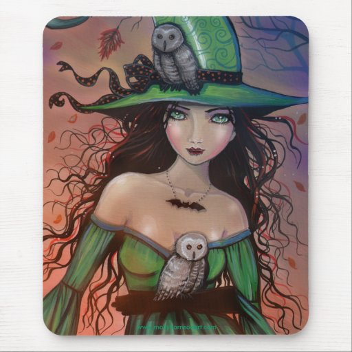 The Witch and th Owls Mousepad by Molly Harrison