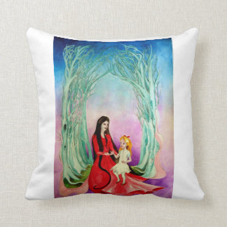 The witch and the little girl throw pillow