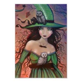 The Witch and the Owls Halloween Postcard Small 3.5x5 Paper Invitation Card