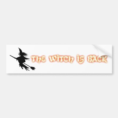Orange halloween witch on broomstick bumper sticker zazzle com