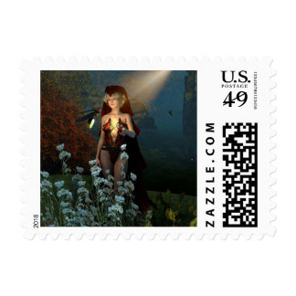 The witch speaks with their firefly in the night postage stamps