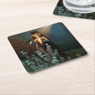 The witch speaks with their firefly in the night square paper coaster