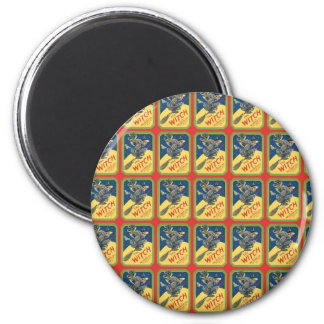 The Witch Witch on Broomstick 2 Inch Round Magnet