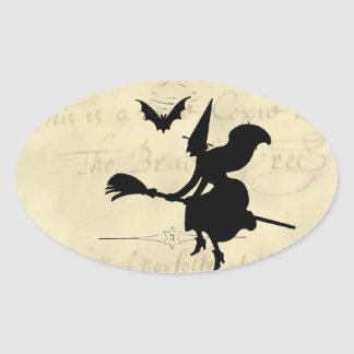 The Witches Ball Halloween Oval Sticker