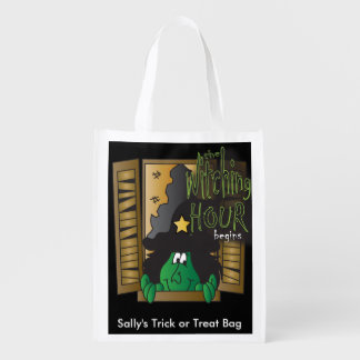 The Witching Hour Begins Halloween Trick or Treat Reusable Grocery Bag