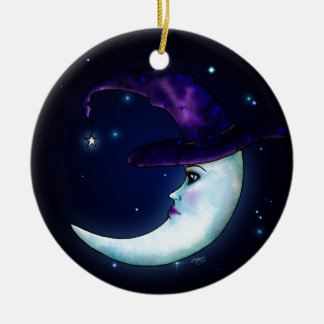 The Witching Moon Double-Sided Ceramic Round Christmas Ornament