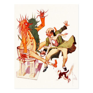 The Wizard in Oz cuts the Sorcerer in two! Postcard