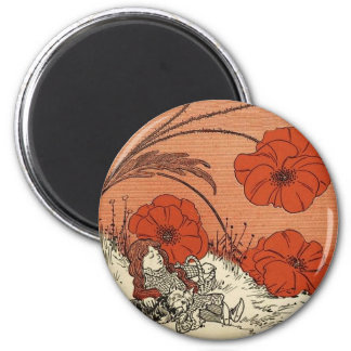 The Wizard of Oz Dorothy and Toto in the Poppies 2 Inch Round Magnet