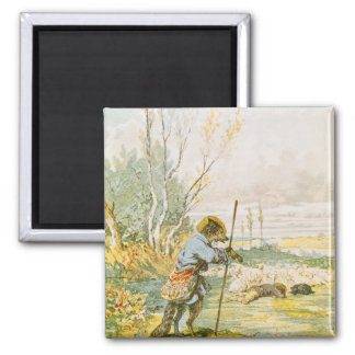 The Wolf as a Shepherd 2 Inch Square Magnet