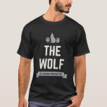 "The Wolf Groom's Bachelor Crew Matching Party T-Shirt<br><div class=""desc"">Keep track of your bachelor crew with these cool customizable shirts. This design features a wolf and barrels with customizable text on a banner. The design for the Groom reads ""The Wolf"" to match the ""Groom"