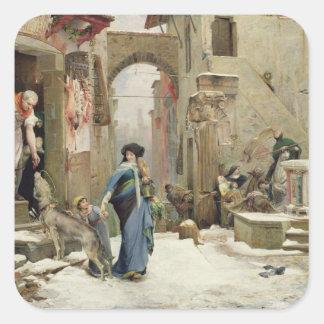 The Wolf of Gubbio, 1877 Square Sticker
