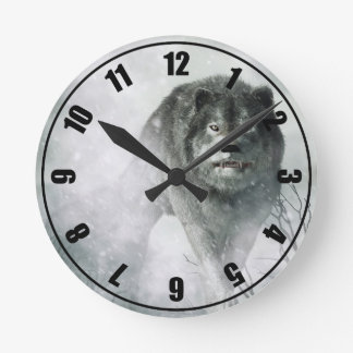 The Wolf of Winter Round Wall Clocks