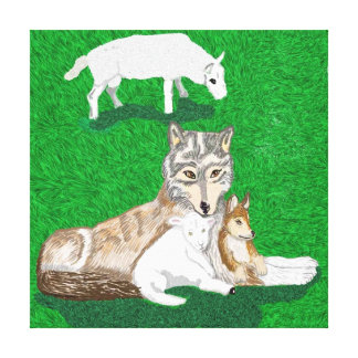 The Wolf, The Cub And The Lamb Canvas Print
