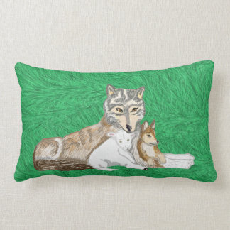 The Wolf, The Cub And The Lamb Lumbar Pillow