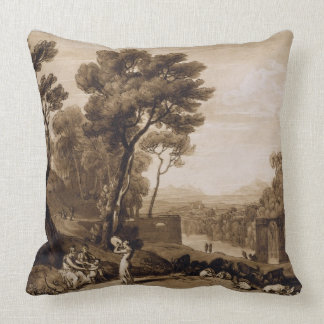 The Woman and Tambourine, engraved by Charles Turn Throw Pillow