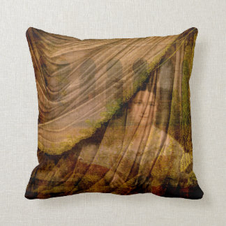 The Woman Behind the Curtain Throw Pillow