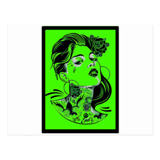 THE WOMAN GREEN POSTCARD