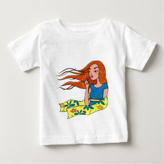 The woman in flowers t shirt
