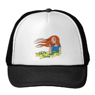 The woman in flowers trucker hat