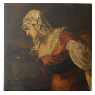 The Woman of Samaria at the Well, c.1560 (oil on c Tile