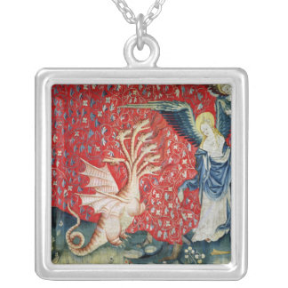 The Woman Receiving Wings to Flee the Dragon Silver Plated Necklace