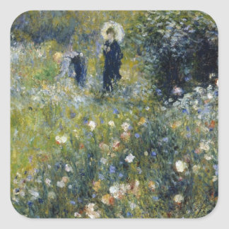 The woman who has the parasol with the garden square sticker