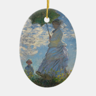 The woman who pours the parasol (mone lady) Double-Sided oval ceramic christmas ornament
